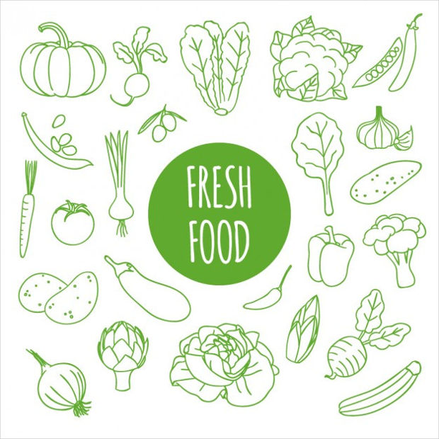 Hand Drawn Fresh Food Vector