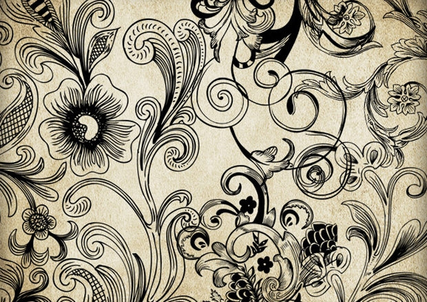 Retro Floral Brush