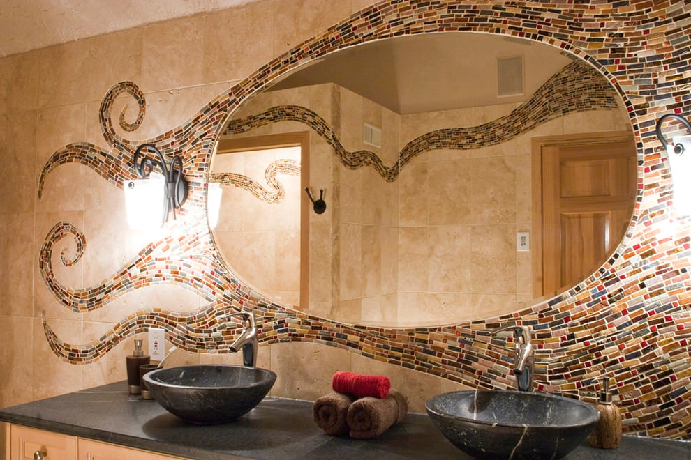 mosaic bathroom backspalsh wall designs