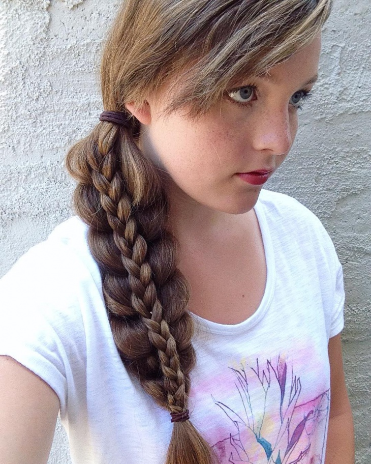 stacked side braid hairstyle