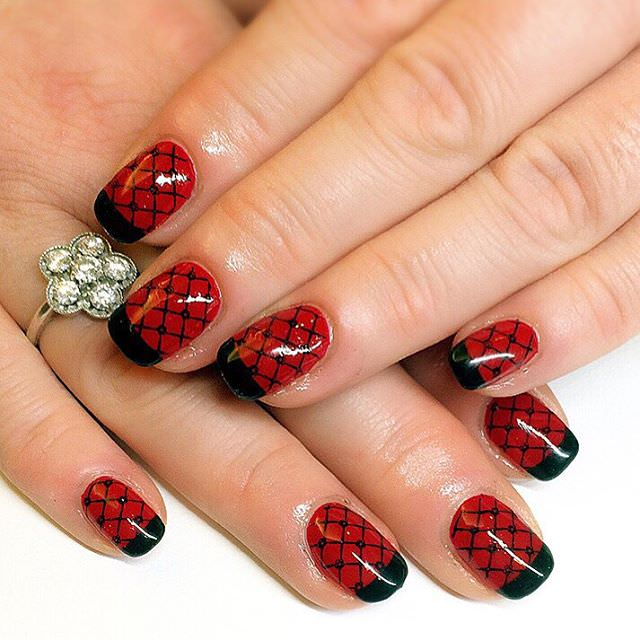 nice red and black nail design