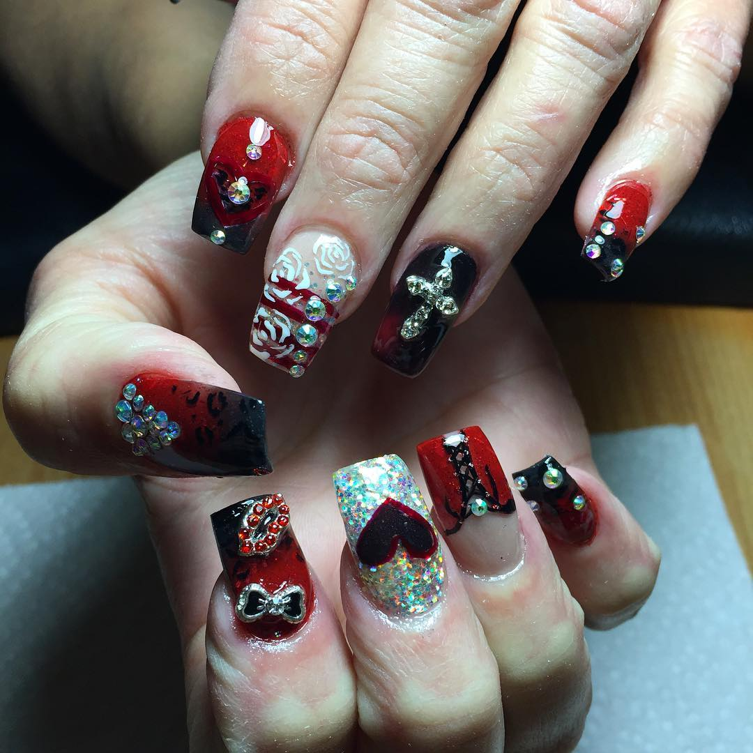 stone black and red nail design
