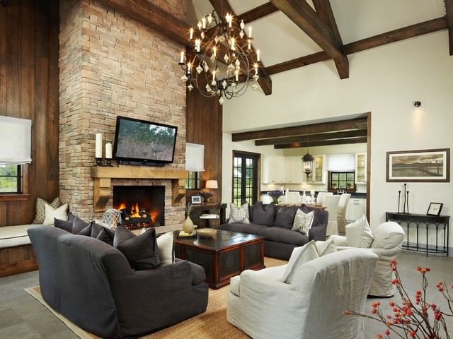 Brick-walls-Rustic-living-room with gray sofa