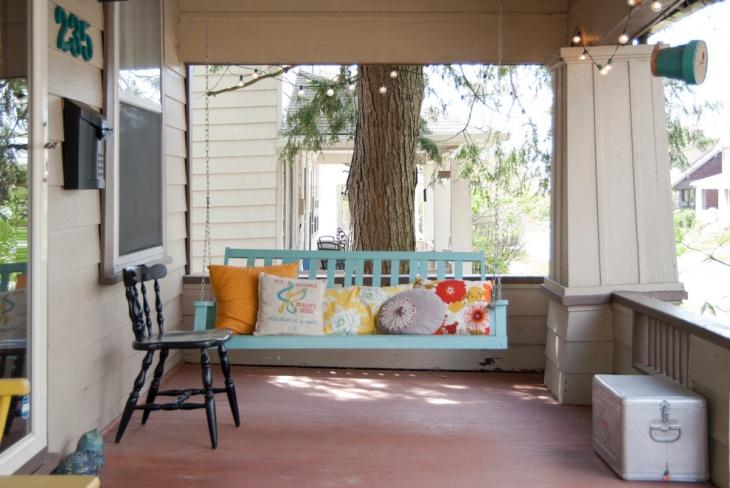 Blue Color Handmade Porch Swing