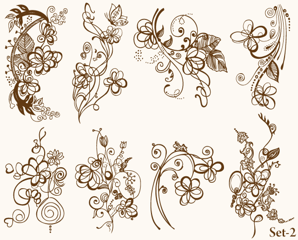 Ornate Flowers Photoshop Brushes