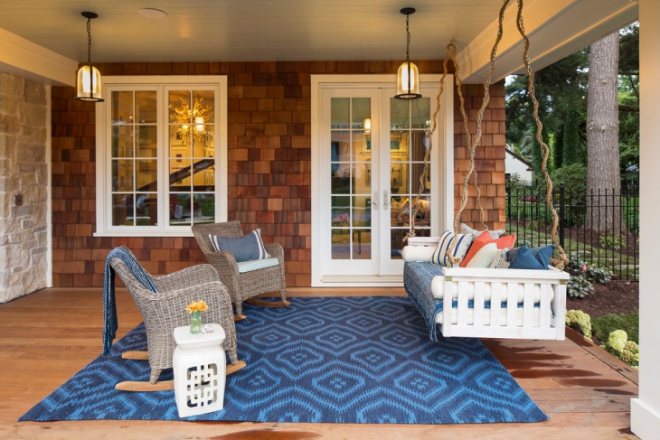 unique porch swing decorating idea