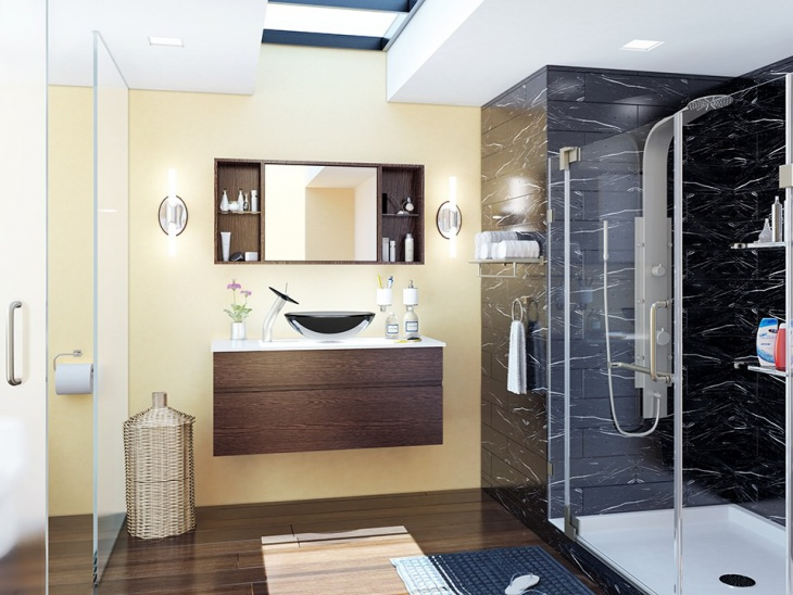 Modern Neutral Bathroom With Brown Wood Cabinets
