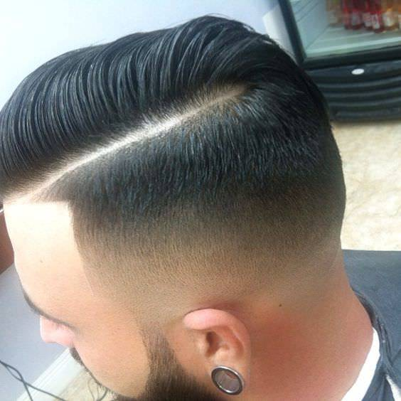 Comb Over Line Fade Haircut Design