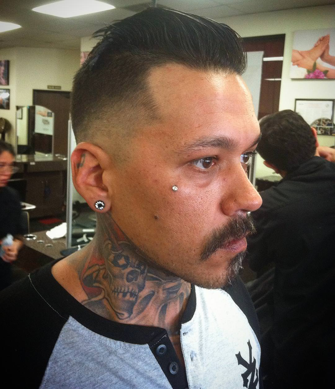 mid fade comb over haircut design