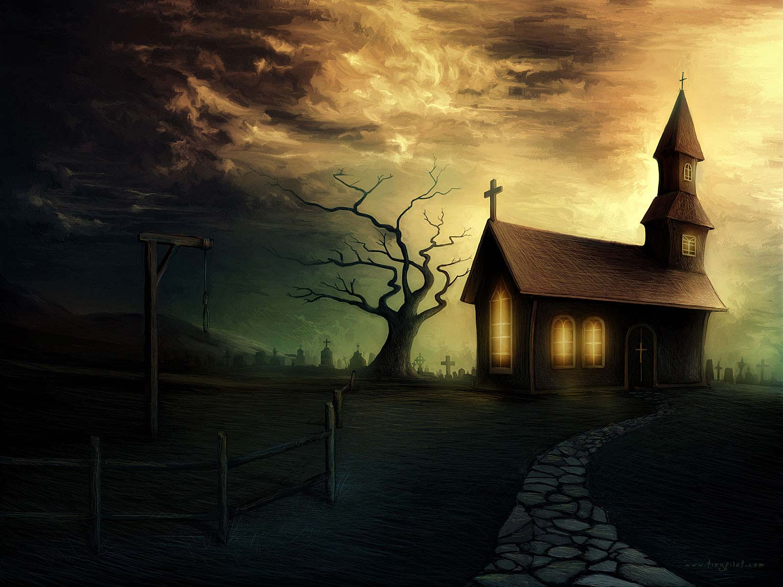 Creepy Haunted House Background