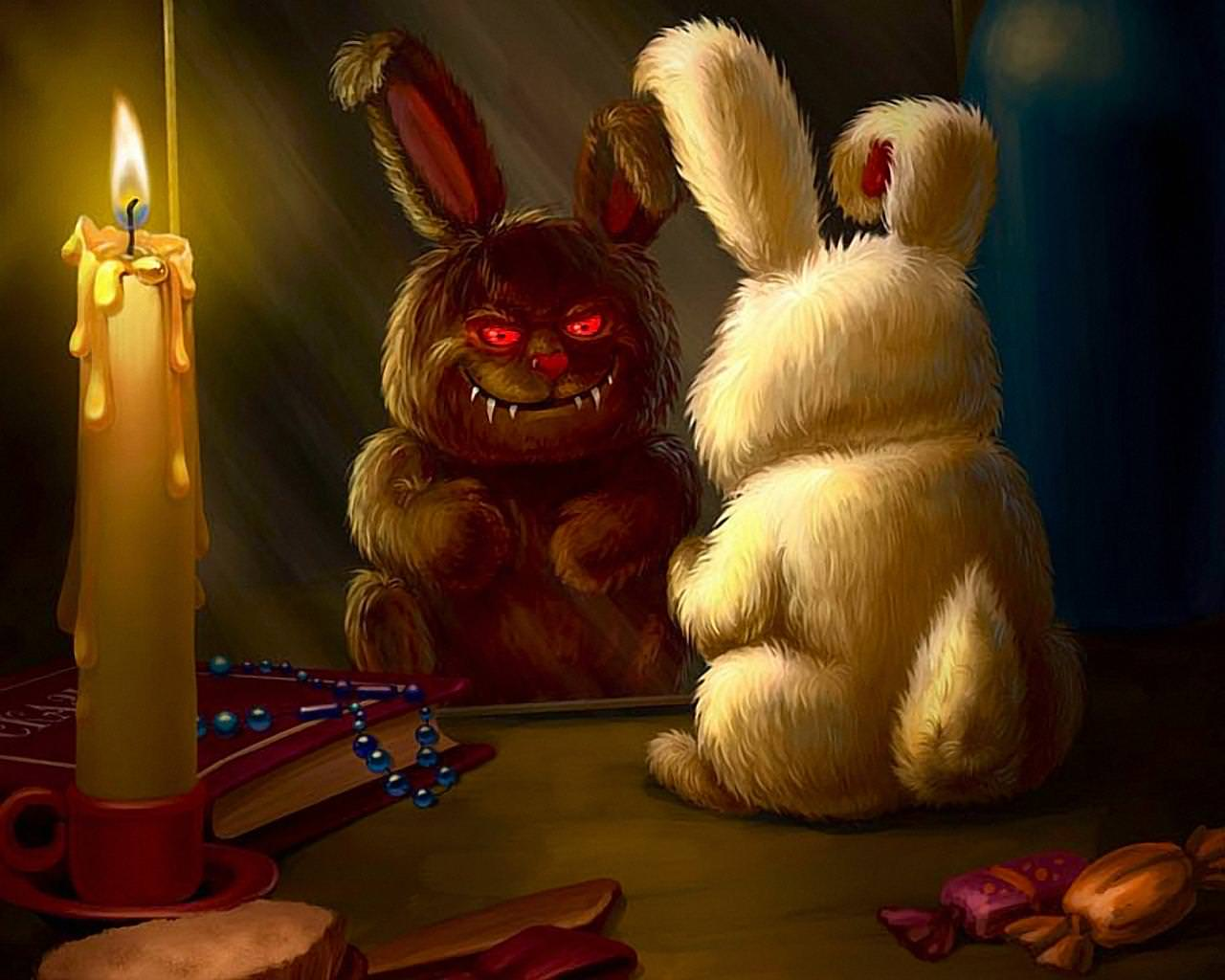Evil Bunny Smile Background