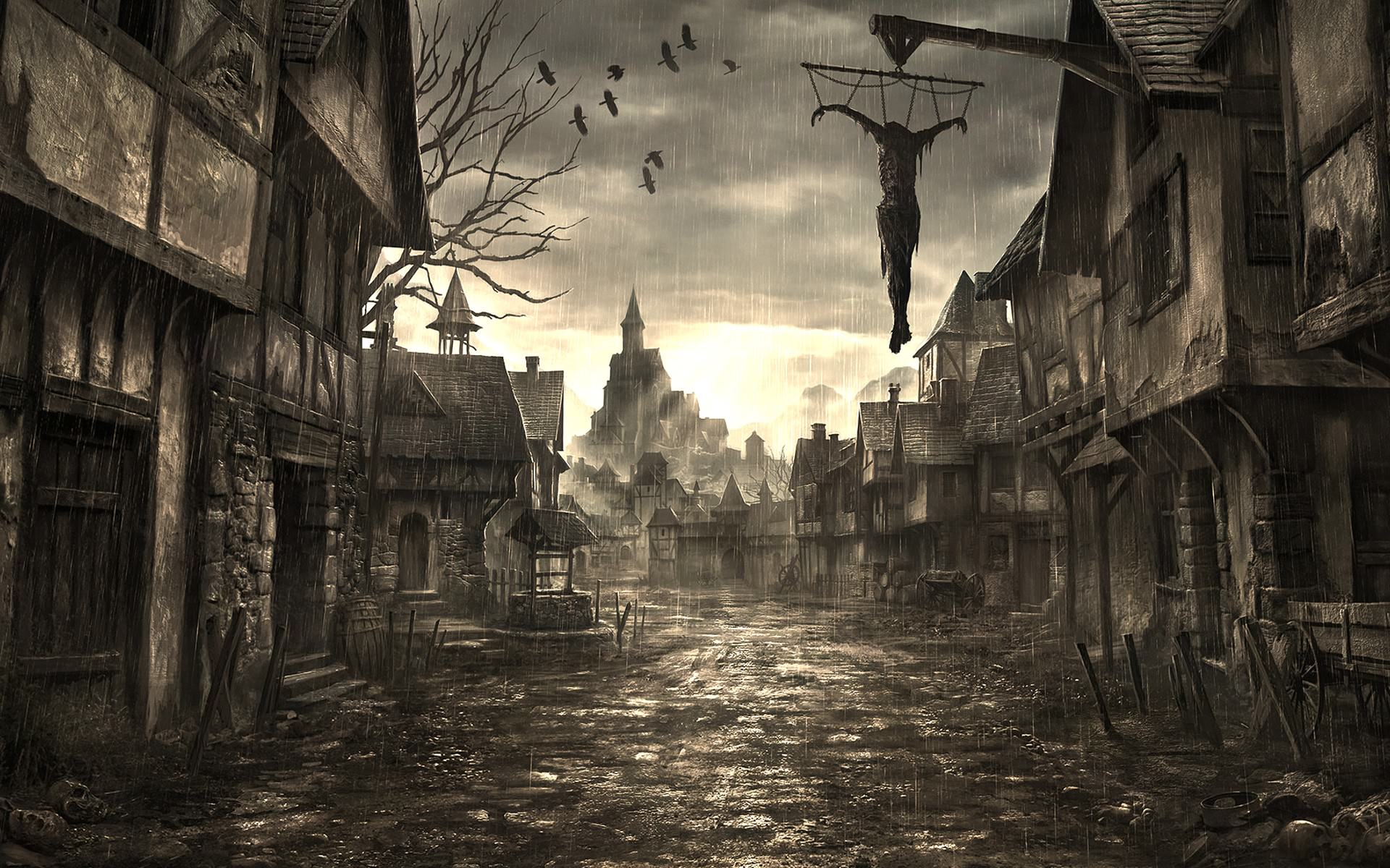 Creepy Haunted Street Background