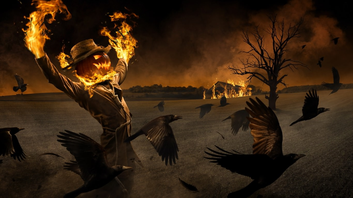 Burning Scarecrow Background