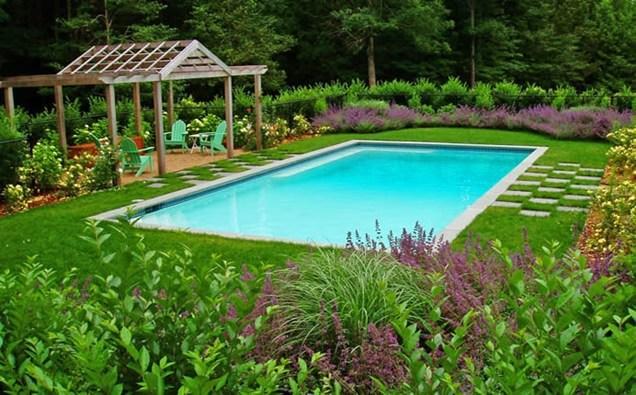 Pool Landscape Design With Grass