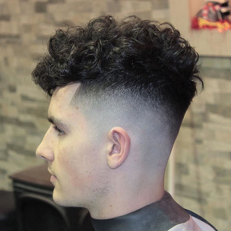 Skin Curly Fade Haircut Design