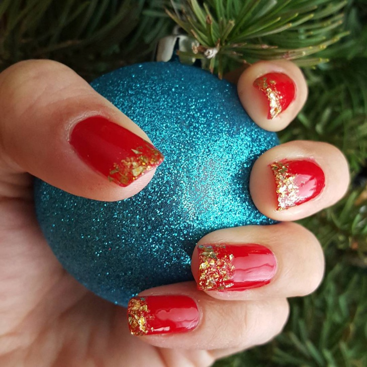 26 Red And Silver Glitter Nail Art Designs Ideas: 26+ Red And Gold Nail Art Designs , Ideas