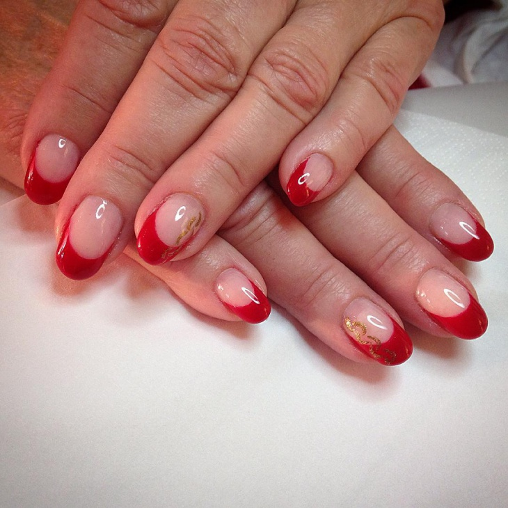 Beautiful Red And Gold Nail Design