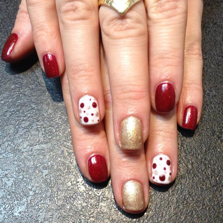 cute red and gold nail design