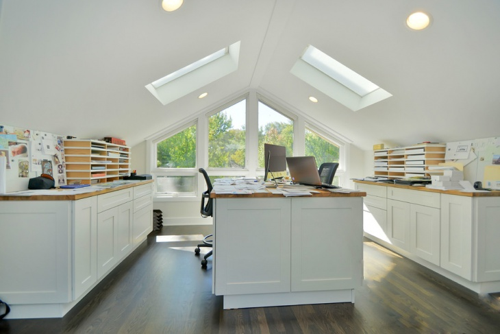 white small home office interior