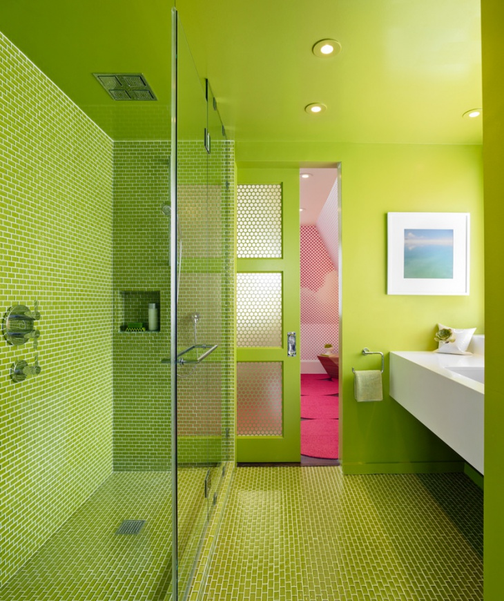 Bright Green Colored Bathroom
