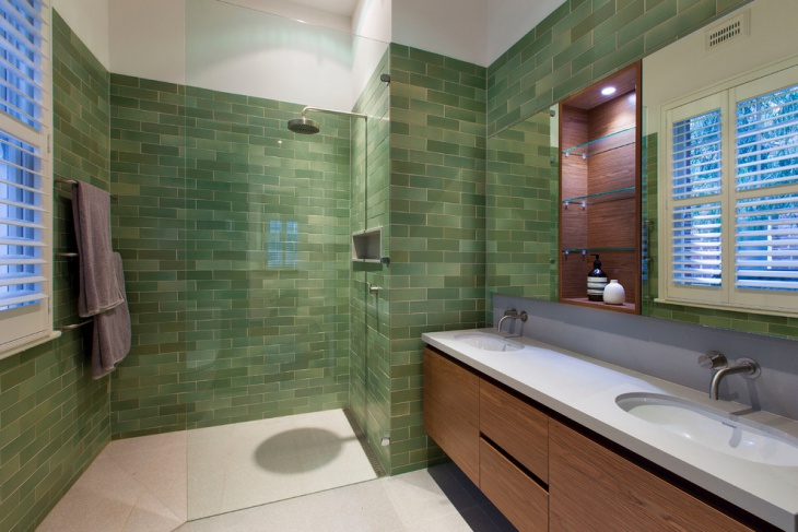 Small Bathroom With Green Wall Tiles