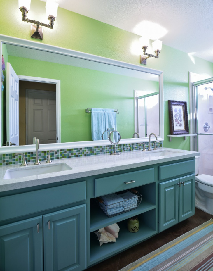 Traditional Green and White Bathroom