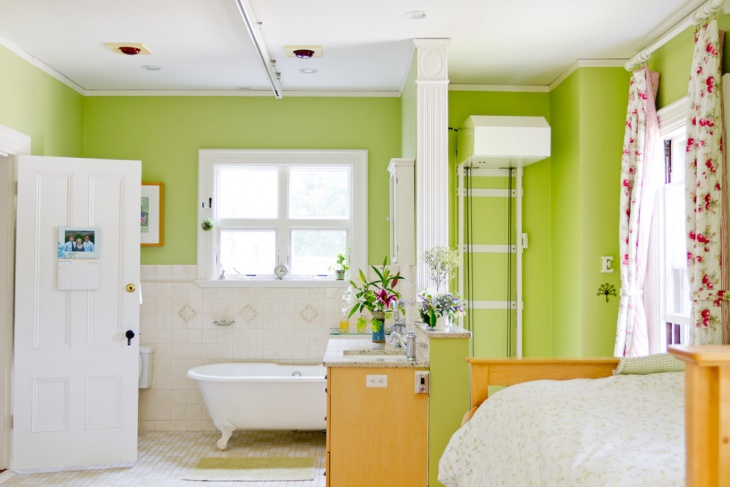 Eclectic Lime Green Bathroom Idea