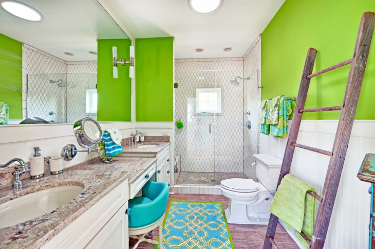 Green Bathroom With Double Vanity.