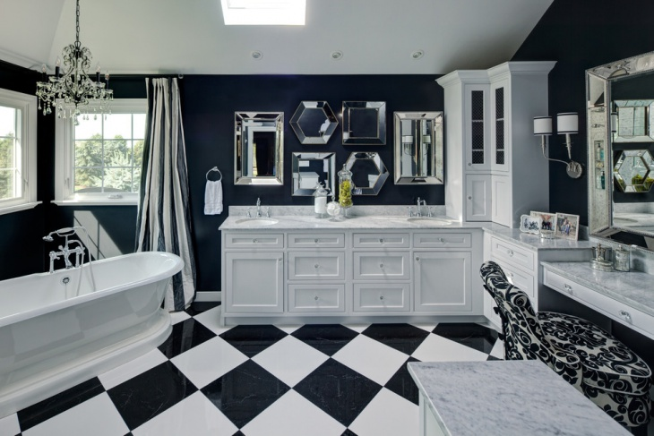 Traditional Large Black and White Bathroom.