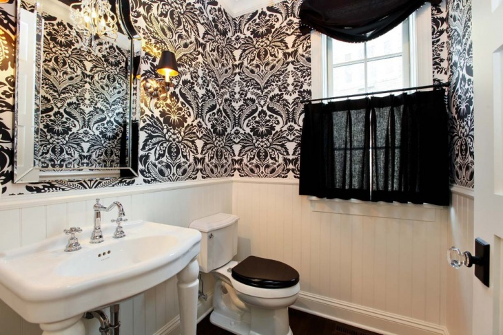 Bathroom With Black and White Designed Wall