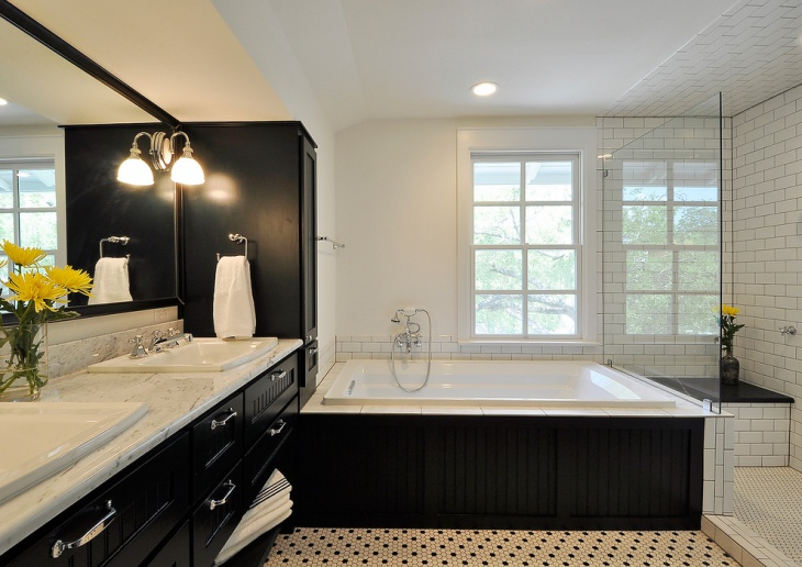 20 black and white bathroom designs decorating ideas for Traditional master bathroom ideas