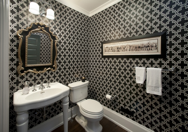 Black and White Wall Pattern Bathroom