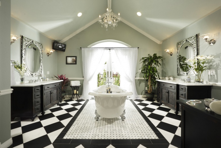Black and White Tiles For Bathroom
