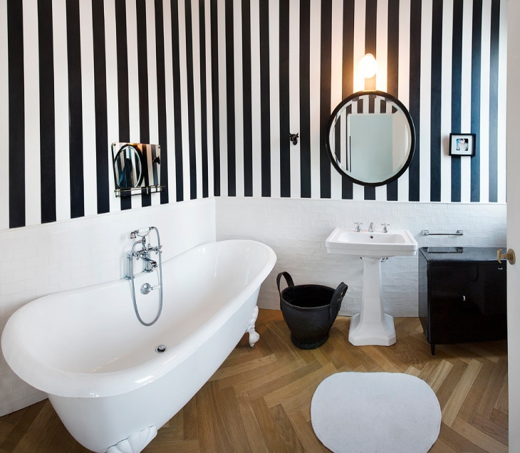 Black and White Stripes Wall Designed Bathroom