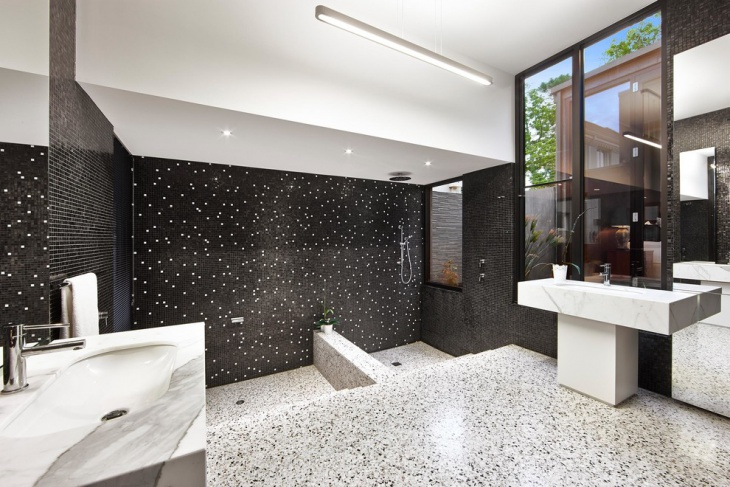 Dotted Bathroom Walls and Floor Design