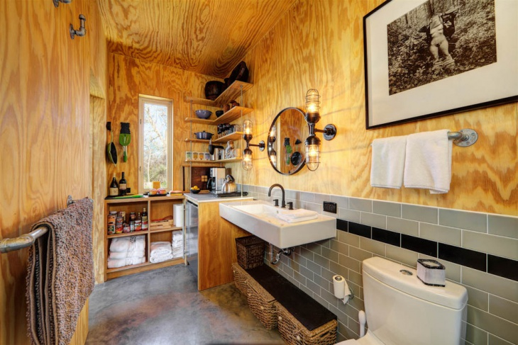 Industrial Bathroom With Cabinets.