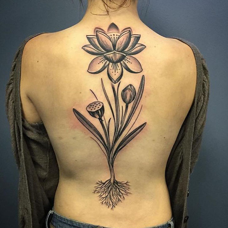 Back Flower Tattoo Design