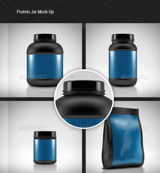 realistic visualized protein jar mockup