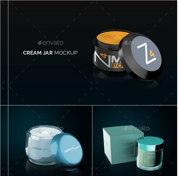Individual Color Cream Jar Mockups