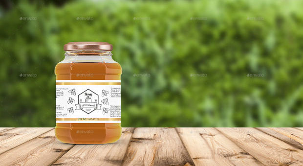 Honey and Glass Jar Mockup