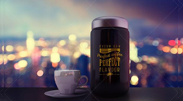 beautiful coffee jar pack mockup