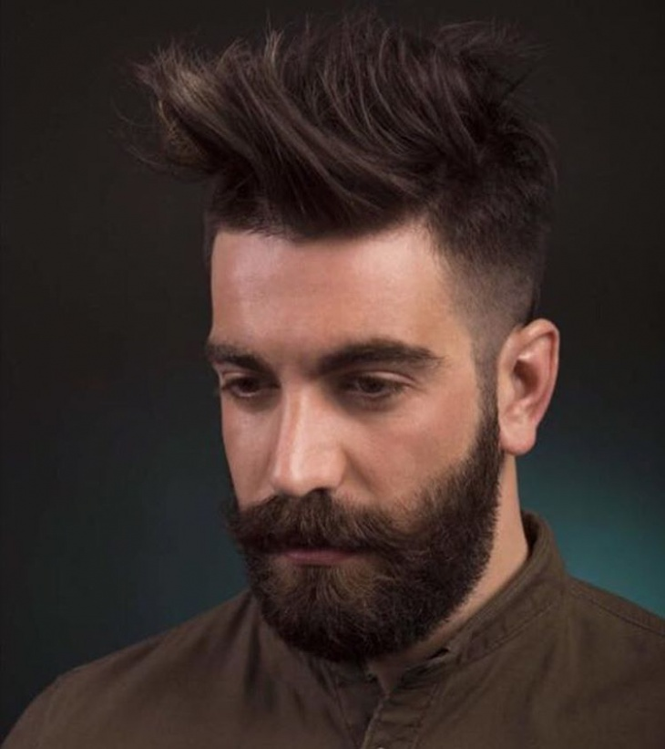 Men Fade Haircut with Beard