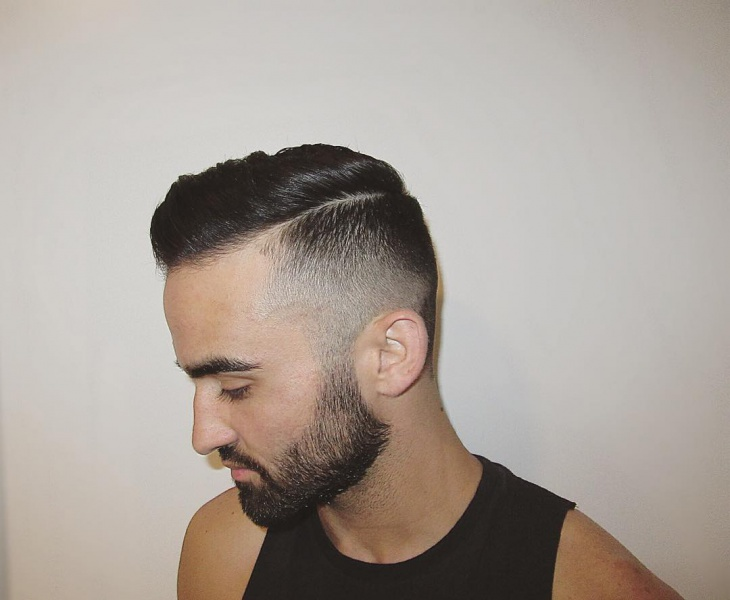 Short Side Swept Faded Hairstyle