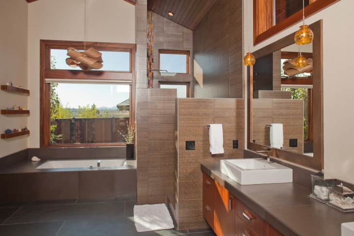 Craftsman Brown Color Bathroom