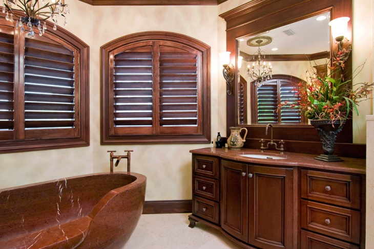 Master Bathroom With Brown Color