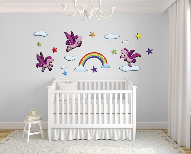 Rainbow and Clouds Wall Art Design.