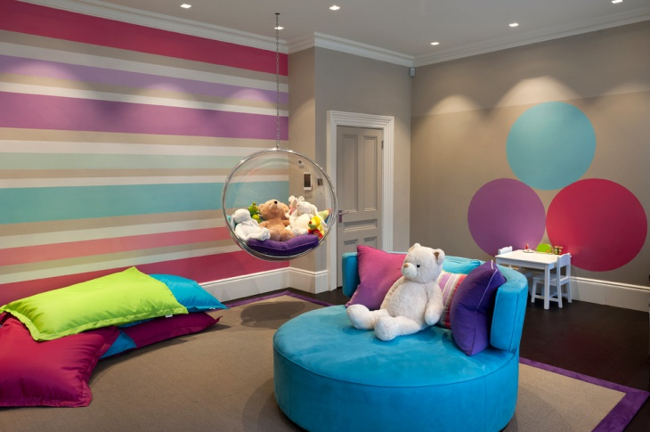Painted Colorful Circles Accent Wall.