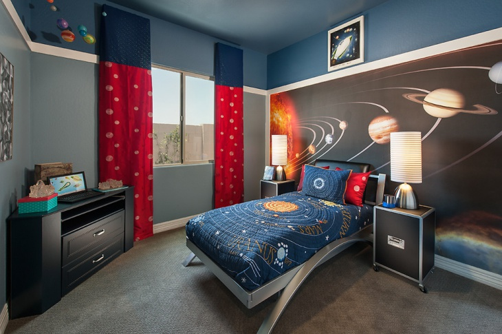 galaxy accent wall design for children