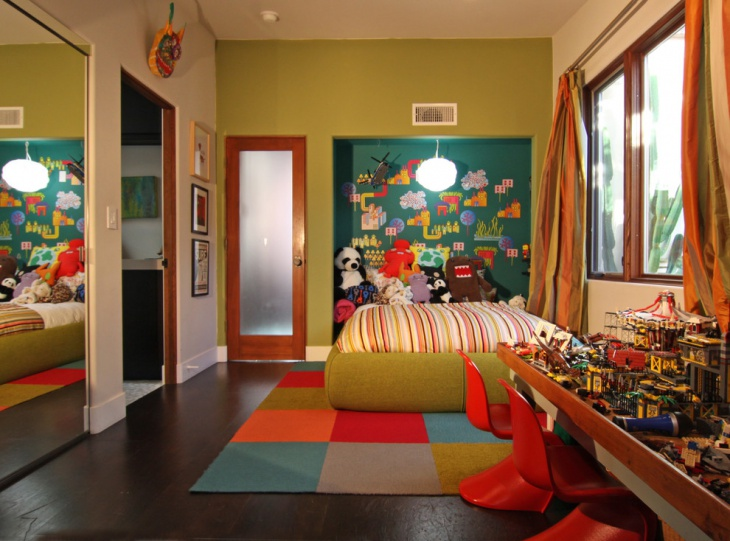 eclectic accent wall design for fun kid