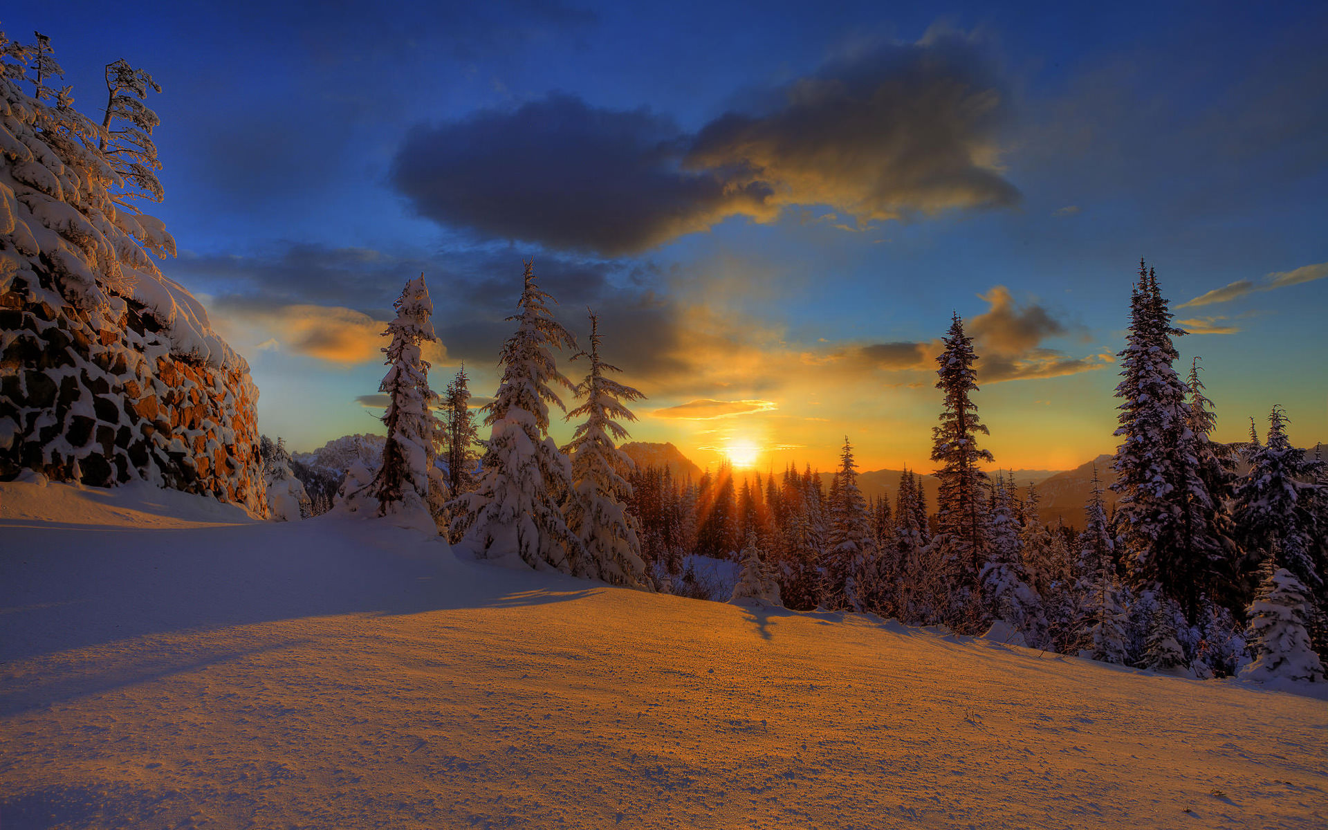 Snowy Sunset Background
